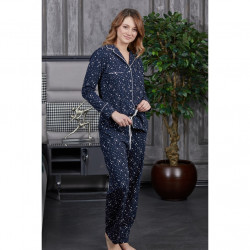 Gömlek Yaka Biyeli Yıldız Desen Lacivert Pamuk Bayan Pijama XL Beden