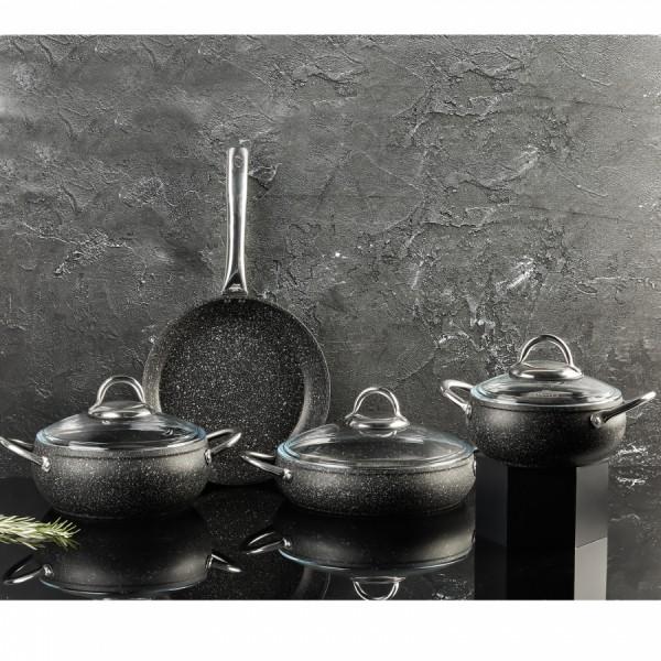 Ezme Serisi, Çömlek Model, 7 Parça, Granit, Tencere Seti, Siyah