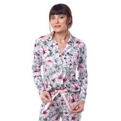 Çiçek Desenli Viskon Gömlek Pijama Takımı L