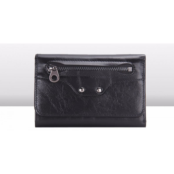 Contacts Trifold Wallet Fashion Ladies Genuine Leather siyah