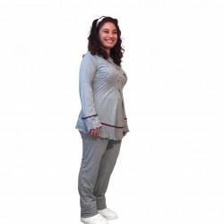 Hamile lohusa pijama takımı, model 1118, Gri renk, 2XL beden