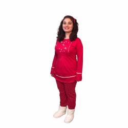 Hamile lohusa pijama takımı, model 1118, Kırmızı renk, M beden