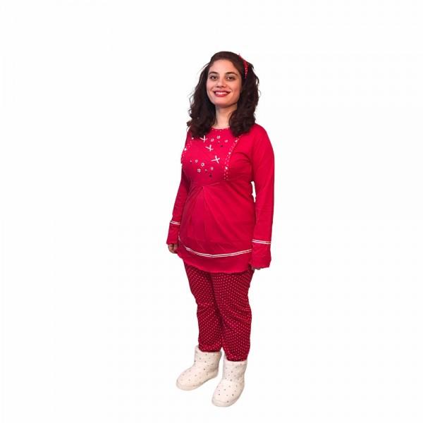 Hamile lohusa pijama takımı, model 1118, Kırmızı renk, XL beden