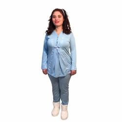 Hamile lohusa pijama takımı, model 1116, Mavi renk, 2XL beden