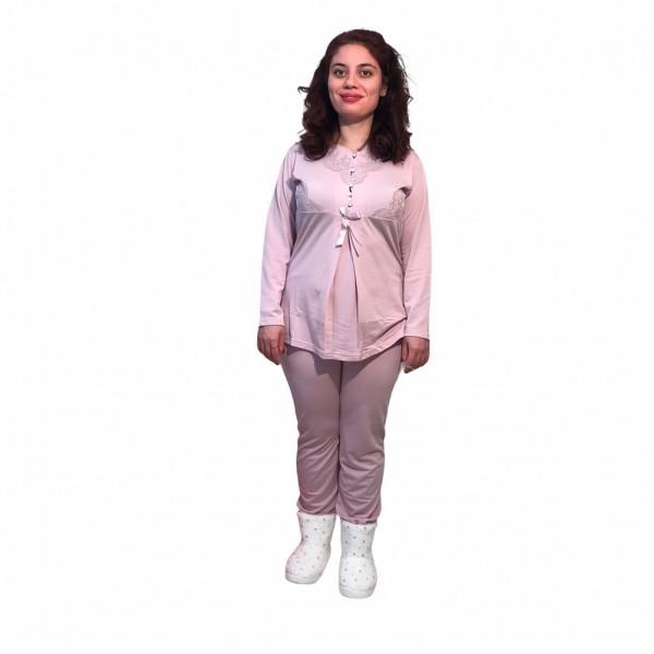 Hamile lohusa pijama takımı, model 1119, Pudra renk, XL beden
