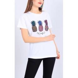 Ananas Baskılı Beyaz Tişört L Beden